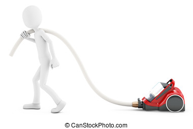 3d man with vacuum cleaner on white background