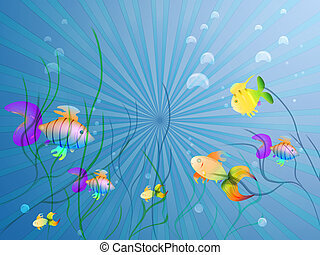 Waterworld - Colorful underwater scene on blue background