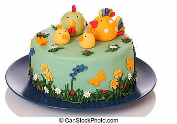 Cake - Sugar birthday cake with chicken, biddy and poult