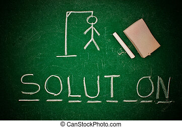 Hangman game on green chalkboard and a word SOLUTION with...