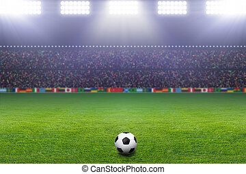 Soccer ball, stadium, light - Soccer ball on green stadium,...