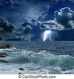 Stormy sea, lightnings - Dramatic nature background -...