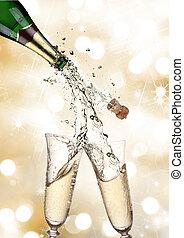 par, Elaboración, salpicadura, champaña, Flautas