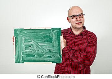 Man with chalkboard