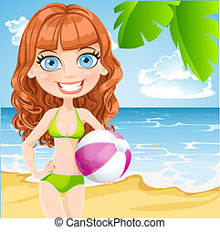 Young girl in a bathing suit with an inflatable ball on...