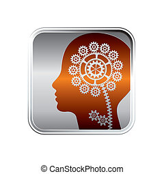 technological icon as abstract people head silhouette with...