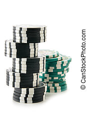 Two stacks of casino chips isolated over a white background....