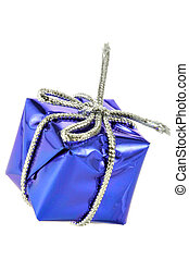 Blue gift box isolated over white background