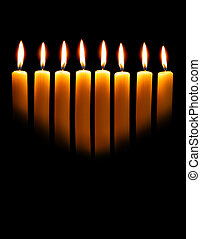 Light of the Torah - Channukah candles over black background...