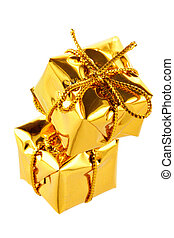 Golden boxes - Two golden boxes isolated over white...