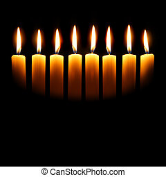 Channukah candles over black background with space for your...