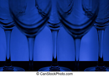 Blue Lable - Wine glasses with blue background light