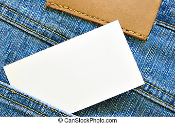 Visiting card in jeans pocket - Blank visiting card in blue...