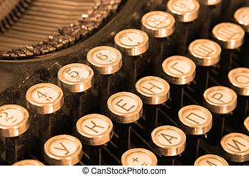 Keyboard of vintage typewriter sepia - Keyboard of vintage...
