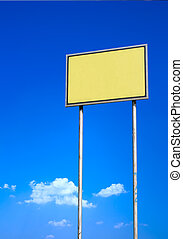 Blank sign against blue sky - Blank yellow sign against deep...