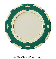 Green casino chip with blank centre isolated over white...