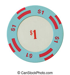 One dollar casino chip isolated over white background