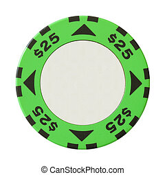 25 dollars casino chip with blank centre isolated over white...
