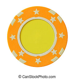 Yellow casino chip with blank centre isolated over white...