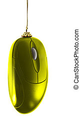 Gold christmas mouse - Christmas decoration - gold computer...