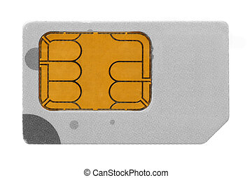 SIM Card - SIM card close-up isolated over white background