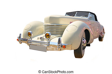 Roadster isolated - Vintage roadster isolated over a white...