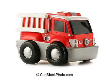 Fire engine toy - Red fire engine toy isolated over a white...