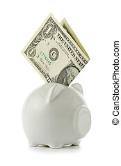 Piggy bank close-up isolated over a white background