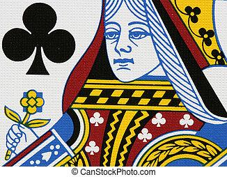Clubs queen portrait close-up