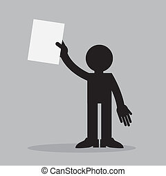 Figure Holding Paper Up - Silhouette figure holding up a...