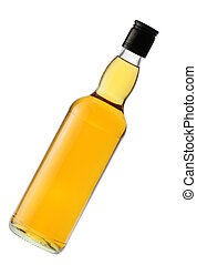 Whiskey bottle - Packed whiskey bottle isolated over a whte...