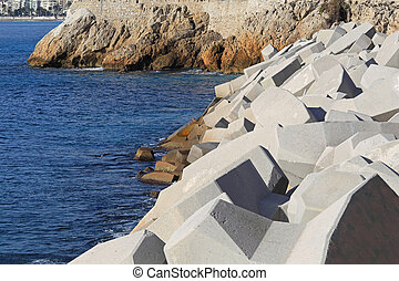 Seawall - Concrete breakwall in Nice at French Riviera