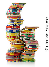 Casino chips - Colorful casino chips isolated over white...