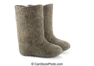 Valenki - Child's valenki - russian felt footwear, isolated...