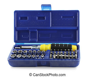 Tool kit within blue box isolated over white background