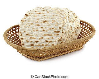 Matzoh - jewish passover bread within pottle over white...