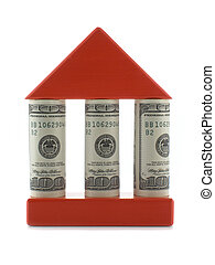 House with columns - House with dollar bills as columns...