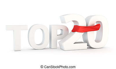 Top 20 - Text Top 20 with red fluttering fabric