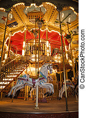 Parisian calliope - Wooden horse on an old-fashioned...