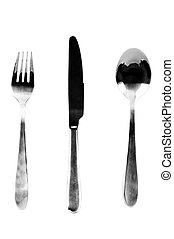 A fork, knife, and spoon on white