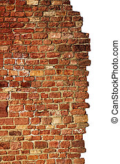 isolated brick wall, red & old - red and old brick wall with...