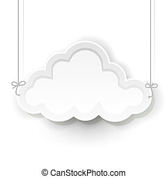 white cloud symbol hanging on white background