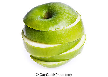 Sliced Apple - An apple sliced into peices, isolated on...