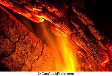 Close-up of logs burning - Burning log with flames and...