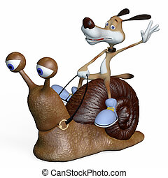 Illustration. The dog goes on a snail.