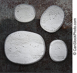 Curved  concrete plates on  metallic background texture