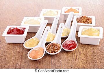 salsa, luces cortas, condimento