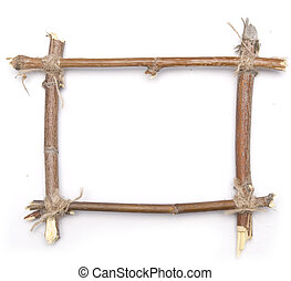 twig frame over white background