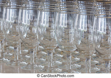 Champagne glasses - Empty champagne glasses ready to use on...