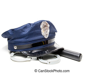 Police Uniform - A police hat, night stick and hand cuffs.